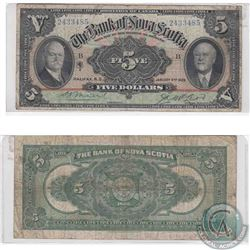 1929 Bank of Nova Scotia $5.00 note in Very Good condition.