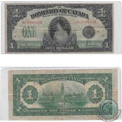 1917 $1.00 note from the Dominion of Canada, Hyndman-Saunders signatures, Seal Only in about VF cond
