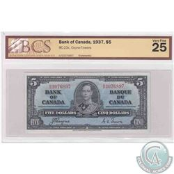 1937 $5.00 note from the Bank of Canada, Coyne-Towers signatures, BCS Certified VF-25.