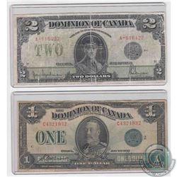 1923 $1 and $2 notes from the Dominion of Canada with Green and Black Seals respectively.  2 Pieces.