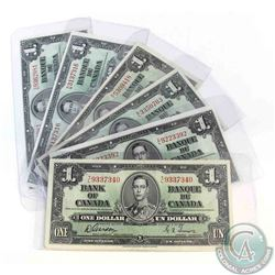 Six 1937 $1.00 notes grading EF or higher with six different prefix's.  6 Pieces.