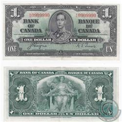 1937 $1.00 note with neat serial number, all 9's and 0's.