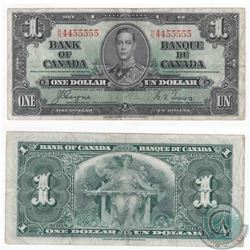 1937 $1.00 note with neat serial number, all 4's and 5's.