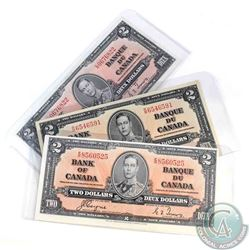 3 x 1937 $2.00 notes with 3 different prefix's all in EF or better condition.  3 P{ieces.