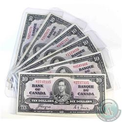 6 x 1937 $10.00 notes with short run M/T prefix.  Only 2.96 Million Printed.  6 Pieces.