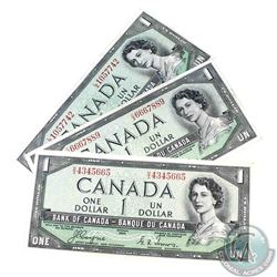 3 x 1954 Devil's Face $1.00 notes with three different prefix's.  3 Pieces.