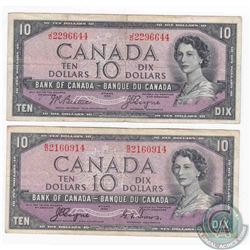 2 x 1954 Devil's Face $10.00 notes with two different signature combinations.  2 Peices.