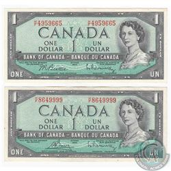 2 x 1954 $1.00 notes with H/F prefix, one of each signature combination that exists on this changeov