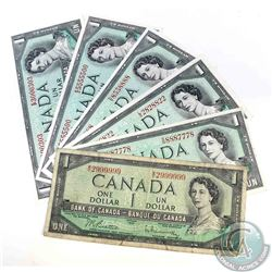 6 x 1954 $1.00 notes with neat serial numbers.  The seven digit serial numbers consist of two unique