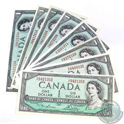 8 x 1954 $1.00 notes all with changeover or short run prefix's.  8 Pieces.