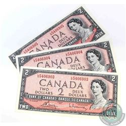 3 x 1954 $2.00 notes with L/G prefix and consecutive serial numbers.  3 Peices.