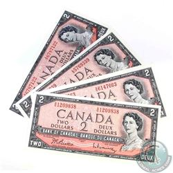 4 x 1954 $2.00 notes all with changeover or short run prefix's.  4 Pieces.