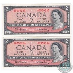 Pair of 1954 $2.00 notes with changeover prefix A/R , Beattie-Rasminsky signatures with consecutive