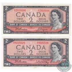 2 x 1954 $2.00 notes with A/R prefix, one of each signature combination that exists on this changeov