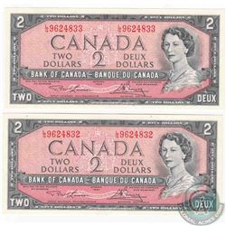 Pair of 1954 $2.00 notes with changeover prefix L/G, Lawson-Bouey signatures with consecutive serial