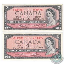 2 x 1954 $2.00 notes with L/G prefix, one of each signature combination that exists on this changeov