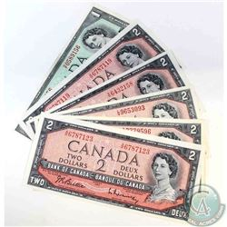 6 x changeover prefix's from the 1954 modified portrait series.  Denominations of $1 and $2.  6 Piec
