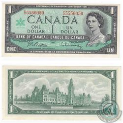 1967 $1.00 note with neat serial number P/O5550050.
