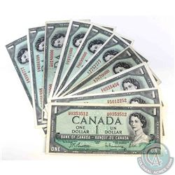 11 x 1954 $1.00 notes with 11 different prefix's, some with neat serial numbers..  11 Pieces.