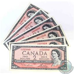 6 x 1954 $2.00 notes with 6 different prefix's, including short run V/G as well as two wave notes.