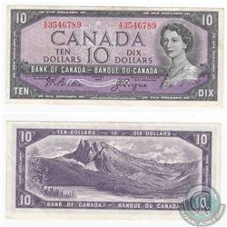 1954 $10.00 note with a near ascending ladder serial number, X/D3546789.  If only the 5 and the 4 we