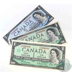 3 x banknotes with neat serial numbers.  All are one digit off of a two digit RADAR.  3 Pieces.
