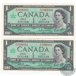2 x R/O prefix 1967 $1.00 notes.  The serial numbers are shoulder notes of a RADAR which is not incl