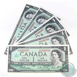 5 x 1967 $1.00 notes, some with neat serial numbers.  Prefix`s included are G/P and H/P.  5 Pieces.