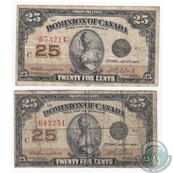 2 x 1923 25c notes with neat sheet numbers consistent of one of every numeral from 1 to 6.  2 Pieces