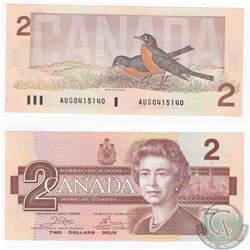 1986 4 digit RADAR $2.00 note in a changeover prefix AUG in UNC Condition.  Scarce serial number in