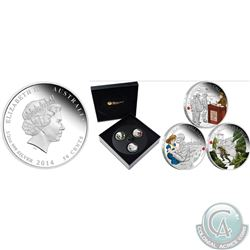 Perth Mint Lot of 2 – The ANZAC Spirit: 2014 Proof Fine Silver Fifty Cent 3-coloured-coin set The AN