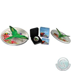 Lot of 2 Perth Mint 3D Coins: Cook Islands .925 Silver $5 World of Parrots Proof coins – 2014 Crimso