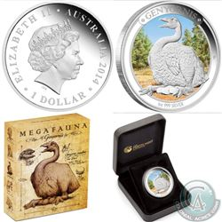 Lot of 2 Perth Mint: Australian 2014 Megafauna 1 oz. Pure Silver Proof $1 Coins (Limited Edition 6,5