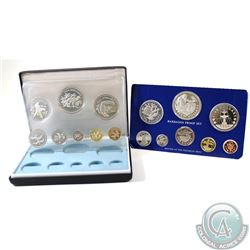 1974 Coinage of Belize & 1975 Barbados 8-coin Silver Proof sets mint by the Franklin Mint (1975 Barb