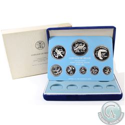 1976 Coinage of Belize 8-coin Sterling Silver Proof Set minted by the Franklin Mint. This set comes