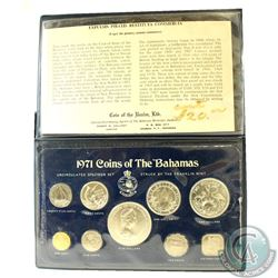 1971 Coins of the Bahamas Unciruclated Specimen set in original blue leatherette dislay folder (Fold