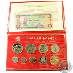 1980 Coinage of Jamaica 9-coin Brilliant Uncirculated Specimen set with Bank of Jamaica $1 Note.