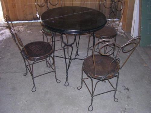 Antique Ice Cream Parlor Table Chairs Loading Zoom