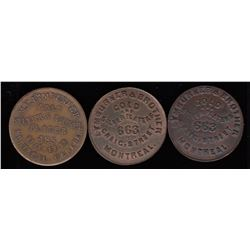 Quebec Tokens - Br 579 and 580. Lymburner's Cards