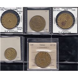 Quebec Tokens - Br. 614 & 615. A group of five R.W.Williams