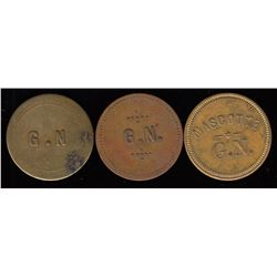 Quebec Tokens - Br. 625, 626, 627. G(edeon) N(ormandin), 5c. In Trade.