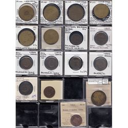 Quebec Tokens - Br. 642, 643, 644, 654, 647a. Ludger Gravel tokens.  Group of 16.
