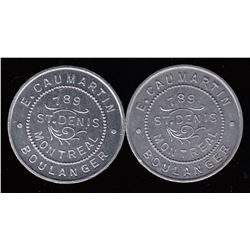 "Quebec Tokens - Br. 657.  A pair of Caumartin ""1 PAIN"" tokens."
