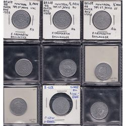 Quebec Tokens - Br. 658, 659, 660. Caumartin goup of nine.