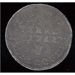 Quebec Tokens - Br 663. Michel Bacquet's Bar Token, Quebec.