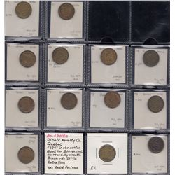 Quebec Tokens - Olcott Novelty Co, Bo. 4018, Lot of 13 differently numbered pieces.