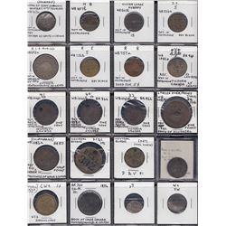 Quebec Tokens - Lot of 27 incuse / countermarked pieces.