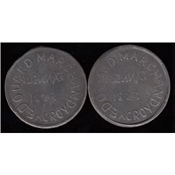Quebec Tokens - A pair of Edouard Marchand tokens.