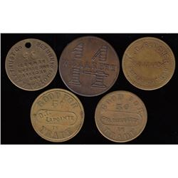 Lot of 5 Ontario Tokens