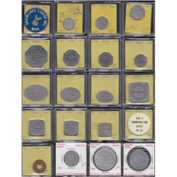 Lot of 35 Manitoba trade tokens.